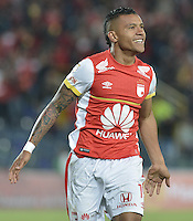 BOGOTÁ -COLOMBIA, 19-07-2015. Wilson Morelo jugador de Independiente Santa Fe celebra el tercer gol de su equipo anotado a Cucuta Deportivo durante partido entre Independiente Santa Fe y Cucuta Deportivo por la fecha 2 de la Liga Aguila II 2015 jugado en el estadio Nemesio Camacho El Campin de la ciudad de Bogota. / Wilson Morelo (L) player of Independiente Santa Fe celebrates the third goal of his team scored to Cucuta Deportivo during a match between Independiente Santa Fe and Cucuta Deportivo for the second date of the Liga Aguila II 2015 played at the Nemesio Camacho El Campin Stadium in Bogota city. Photo: VizzorImage/ Gabriel Aponte / Staff