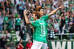 01.09.2019, wohninvest WESERSTADION, Bremen, GER, 1.FBL, Werder Bremen vs FC Augsburg<br /> <br /> DFL REGULATIONS PROHIBIT ANY USE OF PHOTOGRAPHS AS IMAGE SEQUENCES AND/OR QUASI-VIDEO.<br /> <br /> im Bild / picture shows<br /> Jubel 1:0, <br /> Yuya Osako (Werder Bremen #08) bejubelt seinen Treffer zum 1:0, <br /> <br /> Foto © nordphoto / Ewert