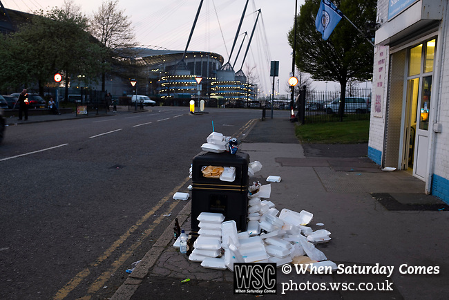 Manchester City 4, Tottenham Hotspur 3, 17/04/2019. Etihad Stadium, Champions League. An overflowing rubbish bin the Etihad Stadium before Manchester City played Tottenham Hotspur in a Champions League quarter final, second league. The first leg was played the previous week at Spurs' new stadium which they won 1-0. The second lead resulted in a 4-3 win for City however Tottenham progressed to the semi-finals against Ajax on the away goal rule as the teams finished 4-4 on aggregate. Photo by Colin McPherson.
