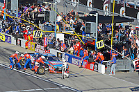 19-20 February, 2016, Daytona Beach, Florida USA<br /> Bobby Labonte, NOS Energy Drink Toyota Camry makes a pit stop.<br /> ©2016, F. Peirce Williams