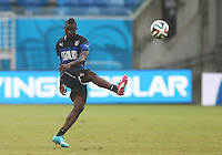 Mario Balotelli of Italy practises his shooting during training ahead of tomorrow's Group D match vs Uruguay