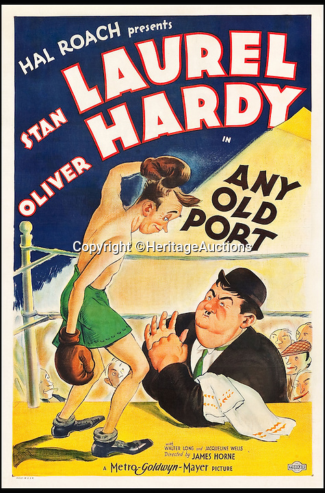 BNPS.co.uk (01202 558833)<br /> Pic: HeritageAuctions/BNPS<br /> <br /> Any Old Port (MGM, 1932) estimate $16,000.<br /> <br /> A lucky family is set to make a staggering &pound;160,000 after a hoard of old film posters they stumbled upon under the floor of their new home turned out to be 'lost' Hollywood relics.<br /> <br /> The prized stash of 17 perfectly preserved posters was discovered by Bob and Dylan Basta as they tore up the lino in the house their dad Robert was renovating. <br /> <br /> After calling in experts from leading auctioneers Heritage they found that among their treasure trove were five never-seen-before posters from the Golden Age of Hollywood.<br /> <br /> The collection is now tipped to fetch a whopping $240,000 - around &pound;160,000 - at Heritage Auctions in Dallas, Texas.