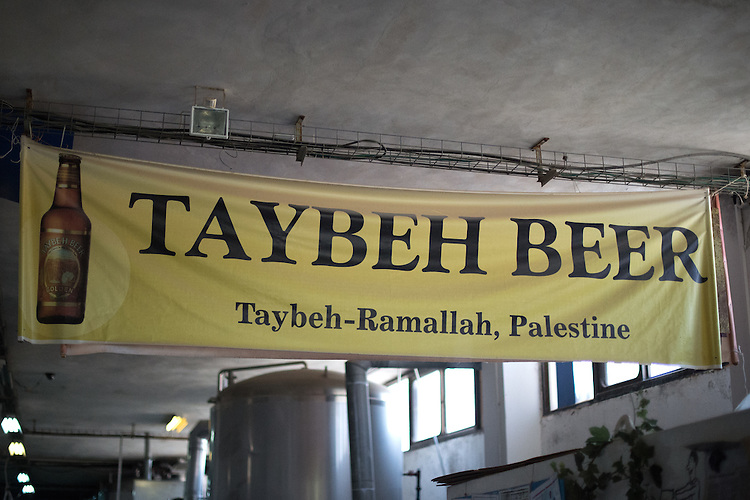 PALESTINE Taybeh, West Bank<br /> <br /> Taybeh Brewery Company:<br /> <br /> A banner at the brewery.