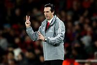28th November 2019; Emirates Stadium, London, England; UEFA Europa League Football, Arsenal versus Frankfurt; Arsenal Manager Unai Emery sends in instructions to his players- Editorial Use