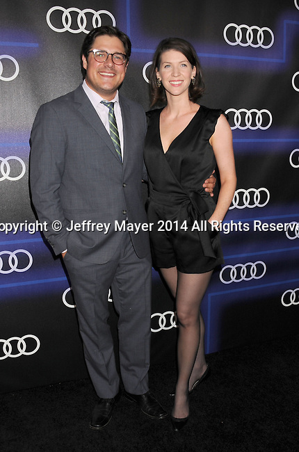 LOS ANGELES, CA- AUGUST 21: Actor Rich Sommer (L) and Virginia Donohoe arrive at the Audi Emmy Week Celebration at Cecconi's Restaurant on August 21, 2014 in Los Angeles, California.