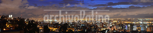 Vista panoramica nocturna de la zona norte de la ciudad de Bogota, capital de Colombia..Panoramic night View of the North area of Bogota city, capital of Colombia
