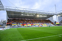 20191221 - LENS , FRANCE : illustration picture shows the tifo in the Trannin tribune pictured before the soccer match between Racing Club de LENS and Niort , on the 19 th matchday in the French Ligue 2 at the Stade Bollaert Delelis stadium , Lens . Saturday 21 December 2019. PHOTO STIJN AUDOOREN   SPORTPIX.BE