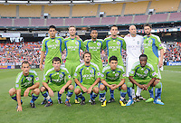Seattle Sounders  team photo.  Seattle Sounders. defeated DC United 1-0 at RFK Stadium, Thursday July 15, 2010.