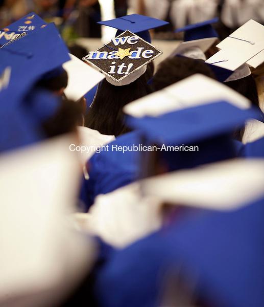 WATERBURY, CT-17 June 2014-061714BF20- The decorated cap of a Crosby High School graduate during graduation Tuesday night. Bob Falcetti Republican-American