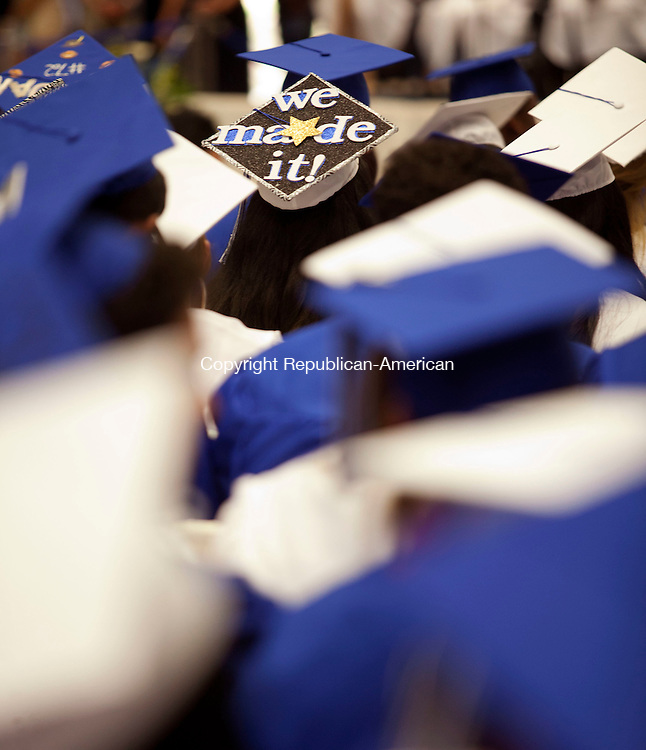 WATERBURY, CT-17 June 2014-061714BF20- The decorated cap of a Crosby High School graduate during graduation Tuesday night. Bob Falcetti Republican-American