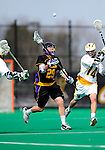 10 April 2011: University at Albany Great Dane midfielder Mike Finnegan, a Senior from Bay Shore, NY, in action against the University of Vermont Catamounts on Moulton Winder Field in Burlington, Vermont. The Catamounts defeated the visiting Danes 11-6 in America East play. Mandatory Credit: Ed Wolfstein Photo