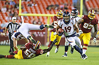 Landover, MD - August 24, 2018: Denver Broncos wide receiver Jordan Leslie (19) runs the ball during the preseason game between Denver Broncos and Washington Redskins at FedEx Field in Landover, MD.   (Photo by Elliott Brown/Media Images International)