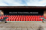 Welcome to Blackwell Meadows sign, by the tunnel. Darlington 1883 v Southport, National League North, 16th February 2019. The reborn Darlington 1883 share a ground with the town's Rugby Union club. <br /> After several years of relegations, bankruptcies, and ground moves, the club is fan owned, and back on an even keel in the National League North.<br /> A 0-0 draw with Southport was marred by a broken leg and dislocated knee suffered by Sam Muggleton, Darlington's on loan left back.<br /> Both teams finished the season in lower mid table.