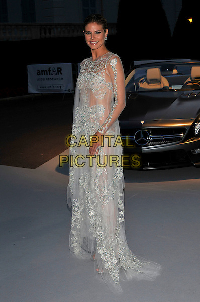 Heidi Klum.AmFAR Cinema Against AIDS 2012, Hotel du Cap, Antibes during the 65th  Cannes Film Festival, France..24th May 2012.full length sheer see through thru dress white blue lace .CAP/PL.©Phil Loftus/Capital Pictures.