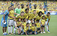 BARRANQUILLA - COLOMBIA - 05-09-2017:  Jugadores de Colombia posan para una foto previo al partido entre Colombia y Brasil por la fecha 16 de la clasificatoria a la Copa Mundial de la FIFA Rusia 2018 jugado en el estadio Metropolitano Roberto Melendez en Barranquilla. / Players of Colombia pose toa photo prior the match between Colombia and Brazil for the date 16 of the qualifier to FIFA World Cup Russia 2018 played at Metropolitan stadium Roberto Melendez in Barranquilla. Photo: VizzorImage/ Gabriel Aponte / Staff