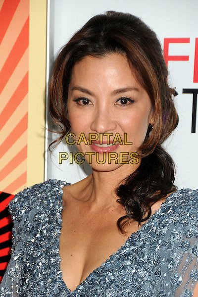 "Michelle Yeoh.AFI Fest 2011 Gala Screening of ""The Lady"" held at Grauman's Chinese Theatre, Hollywood, California, USA..November 4th, 2011.headshot portrait blue silver grey gray beads beaded  .CAP/ADM/BP.©Byron Purvis/AdMedia/Capital Pictures."