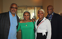 NWA Democrat-Gazette/CARIN SCHOPPMEYER Melvin and Burrell Watkins (from left) and Marcheita and Mike Anderson help support Bost Inc. at the Chef & Winemaker Dinner on April 13 at 21c Museum Hotel.