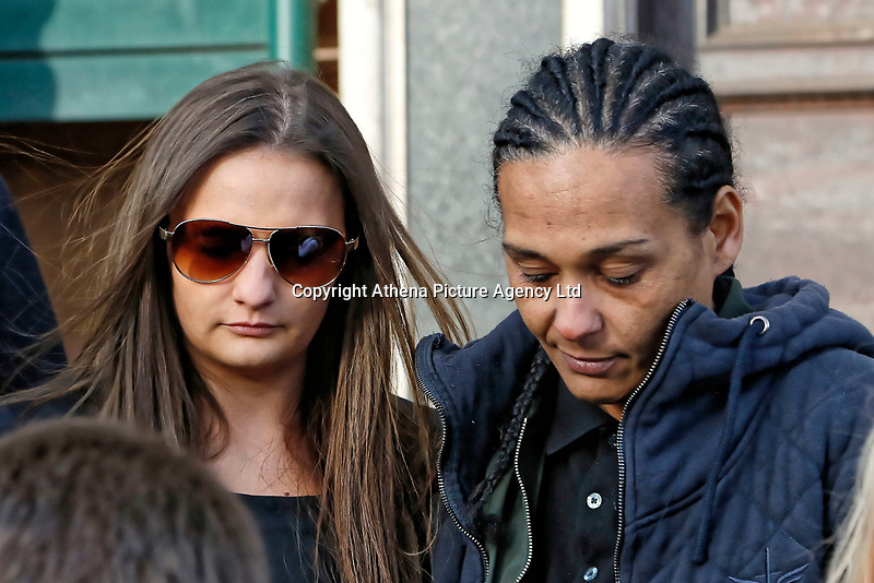 COPY BY TOM BEDFORD<br /> Pictured: Shanice Clark (L) at the end of the inquest outside Newport Coroner's Court. Monday 26 February 2018<br /> Re: Inquest held at Newport Coroner's Court, into the death of five year old Ellie-May Clark who died of an asthma attack, after being refused a GP appointment in Newport, south Wales. <br /> Dr Joanne Rowe refused to see her, on the grounds that her mother was a few minutes late for a booked appointment.<br /> A few hours later, Ellie-May Clark suffered a seizure and died, despite the efforts of an ambulance crew.
