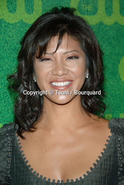 Julie Chen  arriving at the  CW television Critic Assocoation Summer Party at the Ritz Carlton Pasadena Los Angeles. July 17, 2006.<br /> eye contact<br /> headshot<br /> smile