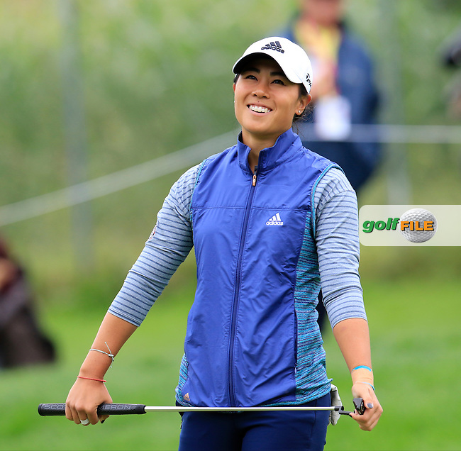 Danielle Kang (USA) misses her putt on the 12th green during Saturday's Round 3 of The 2016 Evian Championship held at Evian Resort Golf Club, Evian-les-Bains, France. 17th September 2016.<br /> Picture: Eoin Clarke | Golffile<br /> <br /> <br /> All photos usage must carry mandatory copyright credit (&copy; Golffile | Eoin Clarke)