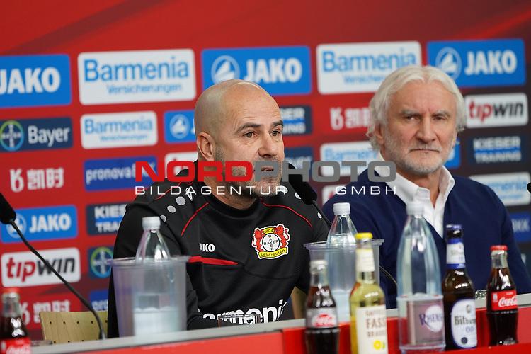 04.01.2019, BayArena, Leverkusen, GER, 1. FBL,  Bayer 04 Leverkusen PK Trainerwechsel,<br />  <br /> DFL regulations prohibit any use of photographs as image sequences and/or quasi-video<br /> <br /> im Bild / picture shows: <br /> erste Pressekonferenz von Peter Bosz Trainer / Headcoach (Bayer 04 Leverkusen), re Rudi Völler/ Voeller Geschaeftsfuehrer Sport (Bayer 04 Leverkusen), <br /> <br /> Foto © nordphoto / Meuter