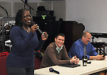 Rita Worthington, who moderated the questioning of, Kingston Mayor, Steve Noble and Police Chief Egidio F. Tinti, at a Community Policing Forum, sponsored by the Kingston Branch of ENJAN and the Ministers Alliance of Ulster Co., held at New Progressive Baptist Church, on Hone Street in Kingston, NY, on Tuesday, December 13, 2016. Photo by Jim Peppler; Copyright Jim Peppler 2016.