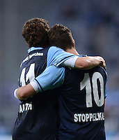 Fussball 2. Bundesliga:  Saison   2012/2013,    4. Spieltag  TSV 1860 Muenchen - MSV Duisburg    31.08.2012 Jubel mit Benjamin Lauth und Moritz Stoppelkamp (v. li., 1860 Muenchen)