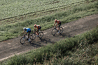 Wout Van Aert (BEL/Veranda's Willems Crelan) shadowed by some rivals / possible future teammates. <br /> <br /> Antwerp Port Epic 2018 (formerly &quot;Schaal Sels&quot;)<br /> One Day Race: Antwerp &gt; Antwerp (207km of which 32km are cobbles &amp; 30km is gravel/off-road!)