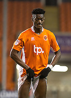 Armand Gnanduillet of Blackpool pulls at his shorts during the The Checkatrade Trophy match between Blackpool and Wycombe Wanderers at Bloomfield Road, Blackpool, England on 10 January 2017. Photo by Andy Rowland / PRiME Media Images.