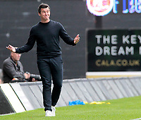 Fleetwood Town Manager Joey Barton cuts a bemused figure on the sidelines<br /> <br /> Photographer David Shipman/CameraSport<br /> <br /> The EFL Sky Bet League One - Oxford United v Fleetwood Town - Saturday August 11th 2018 - Kassam Stadium - Oxford<br /> <br /> World Copyright &copy; 2018 CameraSport. All rights reserved. 43 Linden Ave. Countesthorpe. Leicester. England. LE8 5PG - Tel: +44 (0) 116 277 4147 - admin@camerasport.com - www.camerasport.com