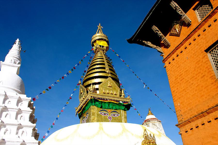 The Main Stupa at Swayambhunath in Kathmandu, Nepal