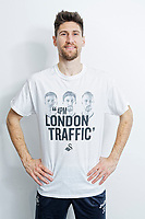 "Pictured: Federico Fernandez wearing one of the t-shirts. Tuesday 27 March 2018<br /> Re: New Swansea City FC t-shirts with messages like ""All The Meat on the Barbecue"" and 4pm London Traffic"" at the Fairwood Training Ground near Swansea, Wales, UK"