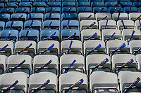 LEICESTER, ENGLAND - APRIL 18:  Banners left on seats for Leicester City fans prior to the Premier League match between Leicester City and Swansea City at The King Power Stadium on April 18, 2015 in Leicester, England.  (Photo by Athena Pictures/Getty Images)
