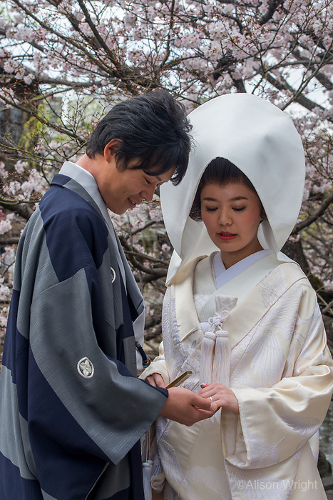 Japan, Okayama Prefecture, Kurashiki.Bride and groom.