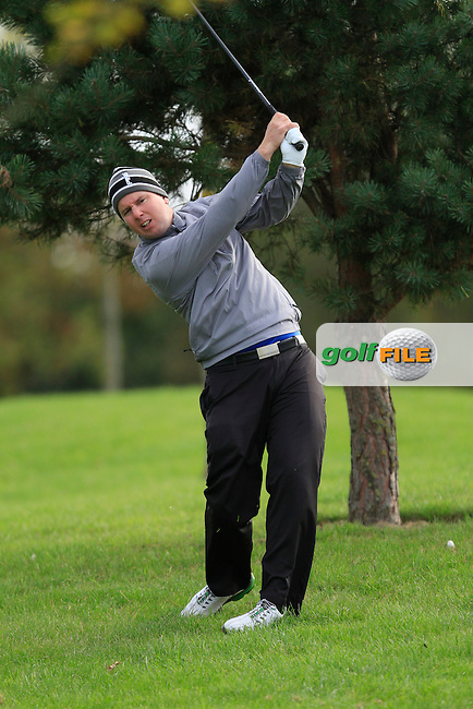 Michael McDermott (Pure Golf Leopardstown) on the 18th during Round 4 of The Cassidy Golf 103rd Irish PGA Championship in Roganstown Golf Club on Sunday 13th October 2013.<br /> Picture:  Thos Caffrey / www.golffile.ie