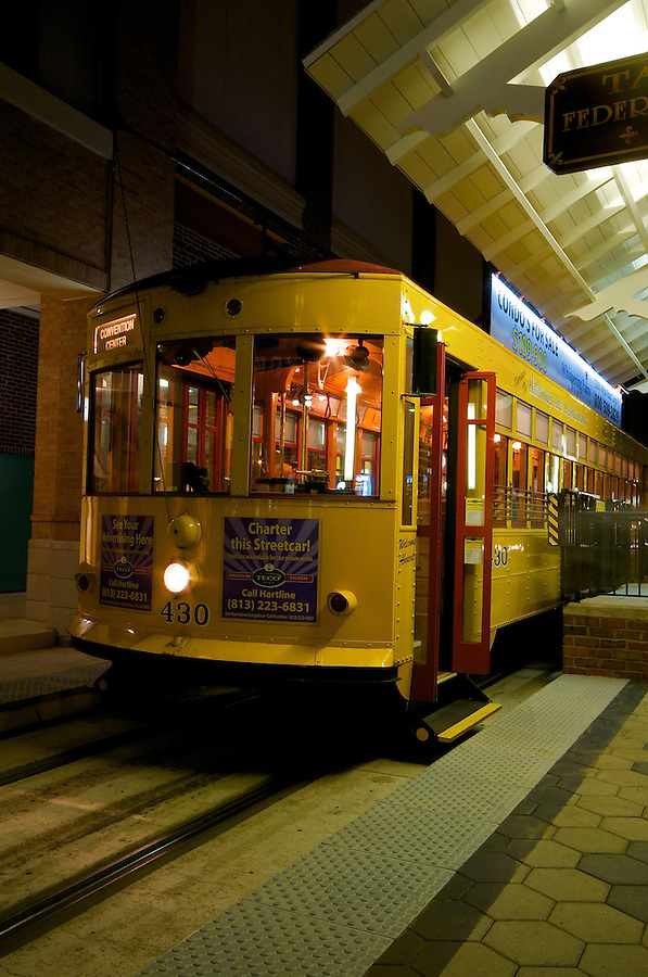 Trolley waiting in a sation in Ybor City, Tampa, Florida, UISA.