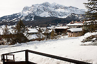 Snow capped peaks seen from the village of Cortina D'Ampezzo in the Dolomites