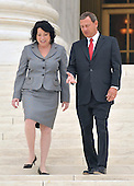 Washington, DC - September 8, 2009 -- Associate Supreme Court Justice Sonia Sotomayor  and Chief Justice of the United States John G. Roberts, Jr. share some thoughts as they walk down the steps for a photo-op following the investiture ceremony in honor of Justice Sotomayor at the United States Supreme Court in Washington, D.C. on Tuesday, September 8, 2009..Credit: Ron Sachs / CNP