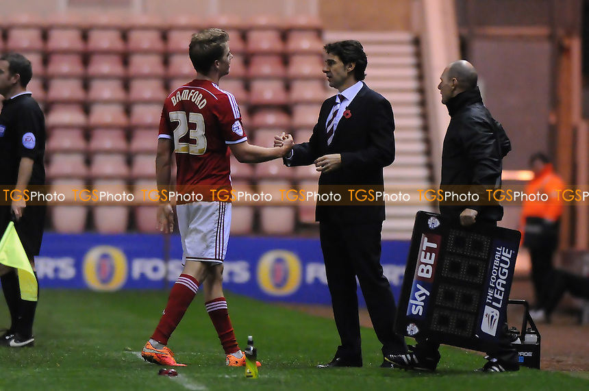 Patrick Bamford of Middlesbrough shakes hands with Middlesbrough manager Aitor Karanka - Middlesbrough vs Norwich City - Sky Bet League Championship Football at the Riverside Stadium, Middlesbrough - 04/11/14 - MANDATORY CREDIT: Steven White/TGSPHOTO - Self billing applies where appropriate - contact@tgsphoto.co.uk - NO UNPAID USE