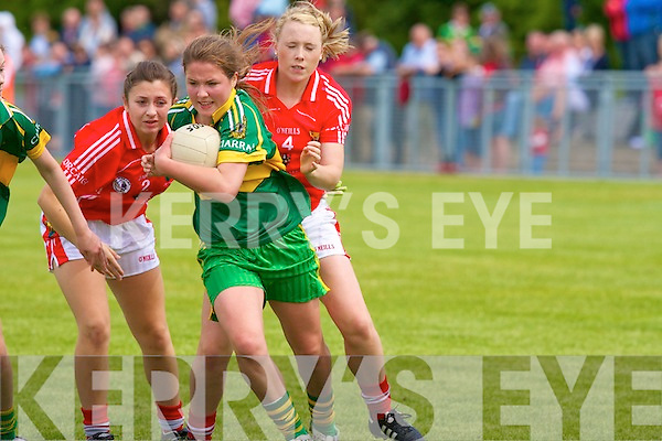 Kerry's Claire O'Sullivan and Cork's l-r: Alanna Barry and Meadhbh Flynn.