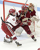 Michelle Picard (Harvard - 20), Blake Bolden (BC - 10), Corinne Boyles (BC - 29) - The Boston College Eagles defeated the Harvard University Crimson 4-2 in the 2012 Beanpot consolation game on Tuesday, February 7, 2012, at Walter Brown Arena in Boston, Massachusetts.