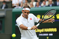 Roger Federer (SUI) during his match against Lloyd Harris (RSA) in their Gentleman's Singles First Round match<br /> <br /> Photographer Rob Newell/CameraSport<br /> <br /> Wimbledon Lawn Tennis Championships - Day 2 - Tuesday 2nd July 2019 -  All England Lawn Tennis and Croquet Club - Wimbledon - London - England<br /> <br /> World Copyright © 2019 CameraSport. All rights reserved. 43 Linden Ave. Countesthorpe. Leicester. England. LE8 5PG - Tel: +44 (0) 116 277 4147 - admin@camerasport.com - www.camerasport.com