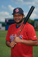 Elizabethton Twins Robert Molina (32) poses for a photo before a game against the Bristol Pirates on July 29, 2018 at Joe O'Brien Field in Elizabethton, Tennessee.  Bristol defeated Elizabethton 7-4.  (Mike Janes/Four Seam Images)
