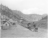 North facing wide angle view of RGS #461 departing Brown with a southbound dismantling train.<br /> RGS  Brown, CO  Taken by Krause, John