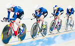 The team of United States with Kelly Catlin, Chloe Dygert, Kimberly Geist and Jennifer Valente compete in the Women's Team Pursuit Finals as part of the 2017 UCI Track Cycling World Championships on 13 April 2017, in Hong Kong Velodrome, Hong Kong, China. Photo by Marcio Rodrigo Machado / Power Sport Images