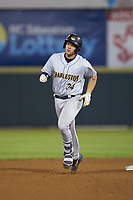 Josh Breaux (34) of the Charleston RiverDogs rounds the bases after hitting a home run during the game against the Hickory Crawdads at L.P. Frans Stadium on August 10, 2019 in Hickory, North Carolina. The RiverDogs defeated the Crawdads 10-9. (Brian Westerholt/Four Seam Images)