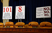 Republican signage prior to Dr. Fiona Hill, former Senior Director for Europe and Russia, National Security Council (NSC), and David A. Holmes, Political Counselor, United States Embassy in Kyiv, Ukraine, on behalf of US Department of State, giving testimony during the US House Permanent Select Committee on Intelligence public hearing as they investigate the impeachment of US President Donald J. Trump on Capitol Hill in Washington, DC on Thursday, November 21, 2019.<br /> Credit: Ron Sachs / CNP<br /> (RESTRICTION: NO New York or New Jersey Newspapers or newspapers within a 75 mile radius of New York City)