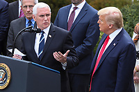 United States Vice President Mike Pence joined by US President Donald J. Trump speaks during a news conference as he declares national emergency in response to coronavirus at the Rose Garden of the White House on March 13, 2020 in Washington, DC.<br /> Credit: Oliver Contreras / Pool via CNP/AdMedia