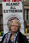 © Joel Goodman - 07973 332324. 24/03/2018. Birmingham, UK. JULIE HAMBLETON leader of Justice4the21 campaign at the Democratic Football Lads Alliance demonstration, held at the same time as an FLA - Football Lads Alliance - demonstration against Islam and extremism , in Birmingham City Centre . Offshoot group, The True Democratic Football Lads Alliance, also hold a separate demonstration . Photo credit : Joel Goodman