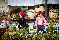 Market stall owned by Pa-O tribe, Ywama Market, Inle Lake, Shan State, Myanmar (Burma)